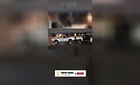 BAttle of the trucks head on tug a war